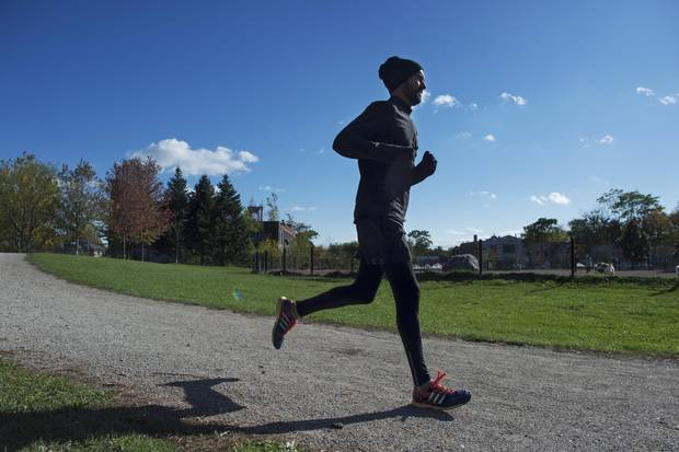 Globe and Mail writer Dave McGinn will be running his first full marathon this weekend and is photographed running on the track at Sorauren Park, on Oct 16 2017.