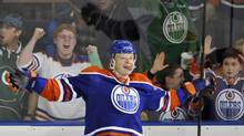Edmonton Oilers' Lennart Petrell celebrates his goal against the Nashville Predators during the third period of their NHL hockey game in Edmonton March 17, 2013. (DAN RIEDLHUBER/REUTERS)