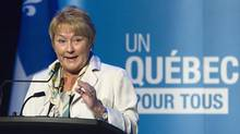 Quebec Premier Pauline Marois makes an announcement on PQ food sovereignty, Thursday May 16, 2013 at Baie St-Paul. (Clement Allard/THE CANADIAN PRESS)