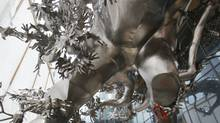 Work is being done to prepare the site of the new massive outdoor stainless steel sculpture called Rising, by Chinese artist Zhang Huan. It will stand outside the Living Shangri-La on University Avenue in Toronto. (Deborah Baic/Deborah Baic/The Globe and Mail)