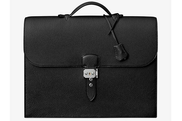 This men's briefcase from Hermès, made from black or brown Togo calfskin, is priced at $10,000.