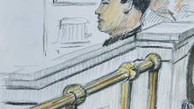 An artist's drawing shows Vince Li inside a courtroom in Winnipeg on March 3, 2009. (TOM ANDRICH/THE CANADIAN PRESS)
