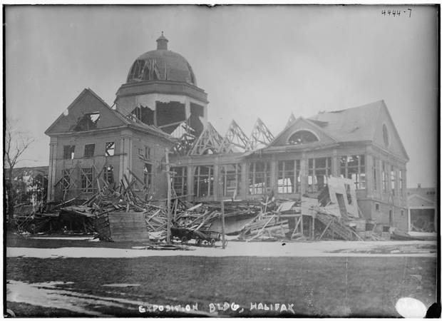 The damaged Exposition building in Halifax.