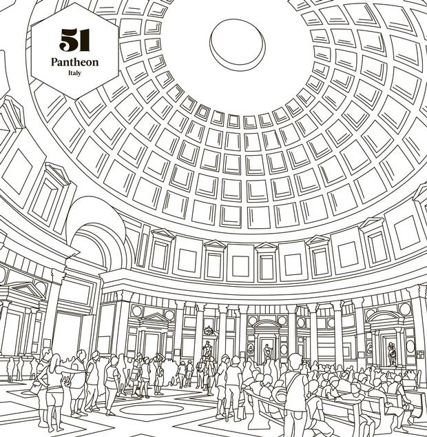 The Pantheon In Rome Ranks Number 51 Lonely Planets Ultimate Colouring Book 100