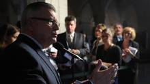 Liberal MP Ralph Goodale speaks to reporters following the Liberal's caucus meeting on Parliament Hill in Ottawa on Wednesday, Sept. 19, 2012. (SEAN KILPATRICK/THE CANADIAN PRESS)