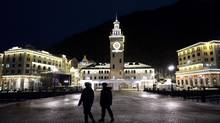 Cossack officers make rounds at Rosa Khutor, a skiing centre in Sochi, Russia on Jan. 17. (JAMES HILL/NYT)