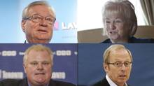 Clockwise from top: Laval Mayor Gilles Vaillancourt, Brampton Mayor Susan Fennell, Winnipeg Mayor Sam Katz and Toronto Mayor Rob Ford. (GRAHAM HUGHES, DEBORAH BAIC, JOHN WOODS AND CHRIS YOUNG/THE CANADIAN PRESS AND THE GLOBE AND MAIL)
