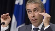 Quebec Finance Minister Nicolas Marceau speaks in Quebec City on May 6, 2013. (CLEMENT ALLARD/THE CANADIAN PRESS)