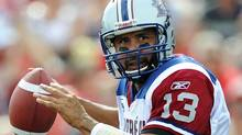 Montreal Alouettes quarterback Anthony Calvillo looks to throw the ball during the first half of their CFL football game against the Calgary Stampeders in Calgary, Alberta, August 27, 2011. REUTERS/Todd Korol (Todd Korol/Reuters)