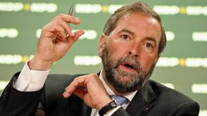 NDP Leader Thomas Mulcair holds a news in Ottawa on June 21, 2012, before Parliament breaks for its summer recess. (Adrian Wyld/The Canadian Press)