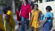 Stephanie Nolen with the girls of Prerna Residential School for MahaDalit Girls in Bihar, India, in 2012 (LANA SLEZIC)