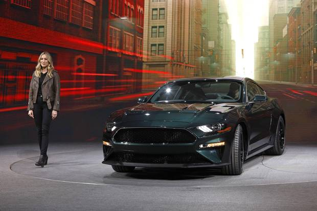 Molly McQueen, the granddaughter of actor Steve McQueen, introduces the 2019 Ford Mustang Bullitt at the 2018 North American International Auto Show in Detroit, on Jan. 14, 2018.