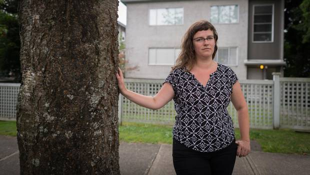 Mount Pleasant renter Kristina Lemieux outside her previous rental apartment in Vancouver. Ms. Lemieux received an eviction notice soon after her building was bought. She fought and won, but ended up moving out anyway.