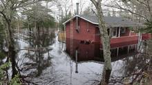 A cottage on the Clyde River in Nova Scotia is partly submerged after a flood in 2010. Water damage claims now account for 40 per cent of one insurer's losses. (Mike Dembeck/The Canadian Press/Mike Dembeck/The Canadian Press)