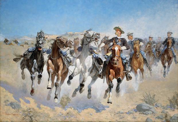 Frederic Remington Dismounted: The Fourth Troopers moving the Led Horses, 1980, Oil on canvas, 86.5 x 124.3 cm, Williamstown, Massachusetts, Sterling and Francine Clark Art Institute