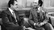 U.S. President Richard Nixon and Prime Minister Pierre Trudeau meet in Ottawa on April 14, 1972. (John McNeill)