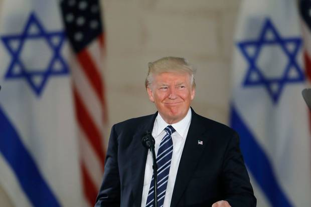 May 23, 2017: U.S. President Donald Trump speaks during a visit to the Israel Museum in Jerusalem.