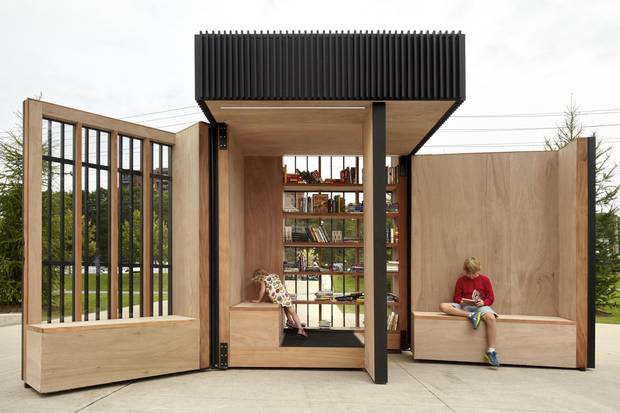 Atelier Kastelic Buffey's Story Pod in Newmarket, Ont., expands on the concept of front-lawn book exchanges by creating a modular structure for storage and reading.