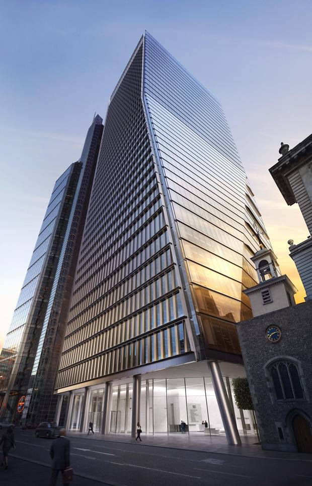 Royal Bank of Canada, legal giant Freshfields Bruckhaus Deringer LLP, and global banking group Jefferies International LLC have gobbled up much of the leasable space at 100 Bishopsgate, shown in an artist's depiction.