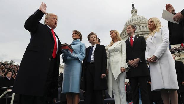 U.S. President Donald Trump takes the oath of office at his inauguration ceremony on Jan. 20, 2017.