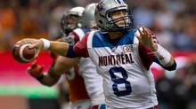 Montreal Alouettes' quarterback Josh Neiswander passes against the B.C. Lions during the second half of a CFL game in Vancouver, on Sunday September 15, 2013. (DARRYL DYCK/THE CANADIAN PRESS)