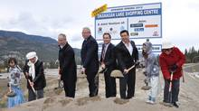 Okanagan Lake Shopping Centre groundbreaking ceremony, April 6, 2011. From left to right: Cheyana Van De Riet, youth (Westbank First Nation), Mary Anne Eli, elder (Westbank First Nation), Larry Rankin, property development Group, Neil Campbell (Landmark Cinemas), Philip Langridge, chairman and CEO (Churchill International Property Corp.), Chief Robert Louie (Westbank First Nation), Mckenzie Nash, youth (Westbank First Nation), Lenora Posella-Holding, elder(Westbank First Nation). (Handout)