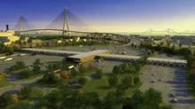 An illustration of the proposed New International Trade Crossing bridge at Windsor-Detroit.