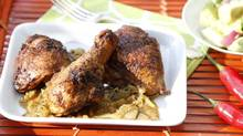Caribbean chicken combines South Asian and West Indian spices to give it a kick. (Fernando Morales/The Globe and Mail)