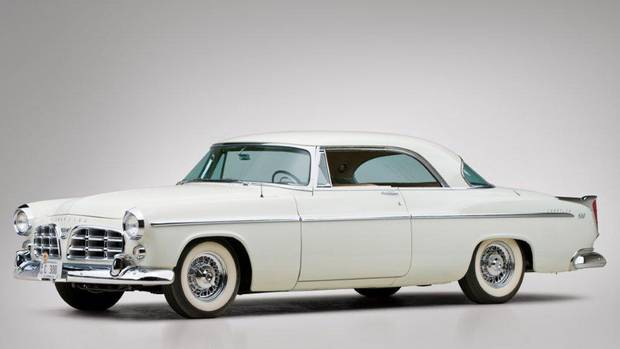 "1955 Chrysler C300 Hardtop Coupe: The car that lit the fuse that ignited the letter car series was the C300 of 1955, a sleek coupe with Chrysler's new ""Forward Look"" styling and a 331 cubic inch, 300 hp Hemi V-8 under its hood with two-speed automatic transmission. (Teddy Pieper – Courtesy of RM Auctions)"