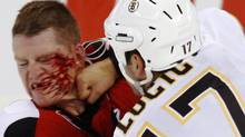 Ottawa Senators' Chris Neil (24) takes a punch in the face from Boston Bruins' Milan Lucic during first period NHL preseason hockey action in Ottawa Friday September 25, 2009. THE CANADIANPRESS/Fred Chartrand (FRED CHARTRAND)