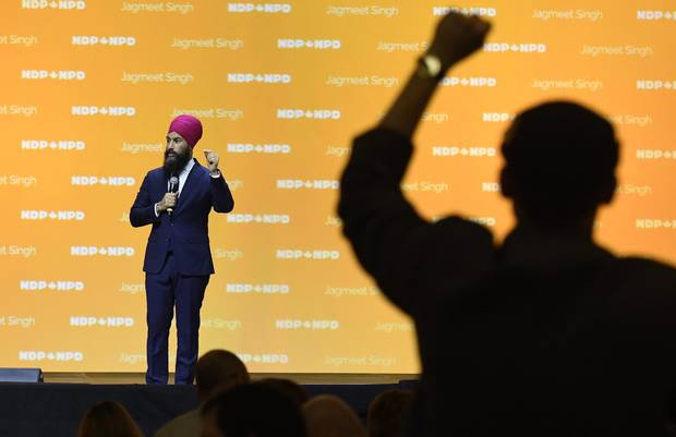 A delegate gives a standing ovation to NDP Leader Jagmeet Singh as he speaks during the Federal NDP Convention in Ottawa on Feb. 17, 2018.