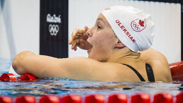 Canadian Penny Oleksiak reacts to winning silver after competing in the women's 100m butterfly final at Olympic Aquatics Stadium during the Rio Olympics August 7, 2016. At 16-year-olds Canadian Penny Oleksiak wins silver in the Women's 100m butterfly. Canada now up to two medals at the Olympic games.