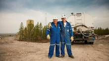 Bart McDonald, left, and Raymond Mercredi work at Cigar Lake in northern Saskatchewan for Cameco Corp., a uranium mining company. As one of Cameco's site elders, Mr. McDonald offers guidance to aboriginal employees on workplace issues. (Cameco Corp.)