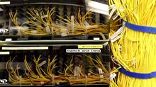 Wires connecting servers installed by telecommunications and IT companies in the building located on 151Front Street. Owned by Allied Properties REIT, the place is dedicated to rent space to companies in need of high volumes data storage and traffic. Toronto September 08, 2010. (Fernando Morales/The Globe and Mail) (Fernando Morales/Fernando Morales/The Globe and M)