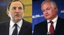 Gary Bettman (R) and Donald Fehr are seen in this combination file photo.