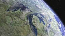 Still from the film Waterlife The Great Lakes, pouring toward the Atlantic Ocean, as seen from space. The lakes contain approximately 20 per cent of the surface fresh water on earth and more than 90 per cent of that available to the United States. (Mark Alberts)