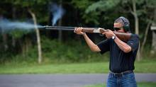 President Barack Obama shoots clay targets on the range at Camp David, Md., Saturday, Aug. 4, 2012. (Pete Souza/White House)