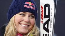 Lindsey Vonn, of the United States, smiles following her second place finish during the women's World Cup downhill skiing event in Lake Louise, Alta., Friday, Dec. 3, 2010. (Jeff McIntosh/THE CANADIAN PRESS)