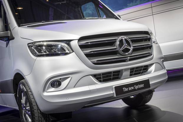 The new Sprinter features a larger grille and narrower, more powerful headlights.