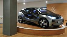 The BMW i3, a carbon-fiber, magnesium-aluminum space frame vehicle with all-electric drive. If you start with smart engineers and a clean sheet of paper, you can come up with something as revolutionary as this. (BMW)