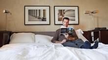 "Olympic gold medallist Mark Tewksbury reads ""Great Expectations"" in the Windsor Arms Hotel in Toronto. (Della Rollins/Della Rollins for the Globe and Mail.)"