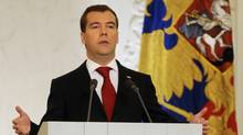 Russian President Dmitry Medvedev delivers an annual state of the nation speech at the Kremlin in Moscow. (NATALIA KOLESNIKOVA)