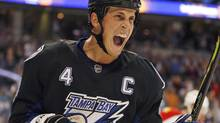 Tampa Bay Lightning's Vincent Lecavalier celebrates after scoring a second-period goal against the Florida Panthers during an NHL hockey game Saturday night, Dec 27, 2008, in Tampa, Fla. (Chris O'Meara)