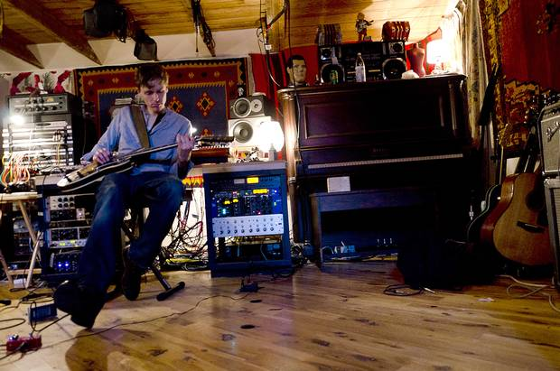 Joel Plaskett in the studio in 2012 during the making of his album Scrappy Happiness at the Scotland Yard.