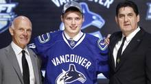 Brendan Gaunce poses for a photo after being picked by the Vancouver Canucks in the first round of the NHL Draft in Pittsburgh, Pennsylvania, June 22, 2012. (Reuters)