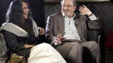 Award-winning author Salman Rushdie laughs with filmmaker Deepa Mehta during a sit-down interview with Globe and Mail at the Panorama Restaurant in Toronto, Ontario Thursday Oct. 25, 2012. (Tim Fraser for The Globe and Mail)