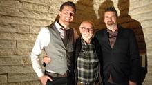 Joe Fafard, centre, is flanked by son Joël Fafard, right, and guitarist Joel Schwartz, left, at the opening of A Tune to Art: Sculpture and Song at the Slate Fine Art Gallery in Regina. The event showcased new works by the Canadian sculptor and a live performance by the younger Fafard and Schwartz. (MARK TAYLOR FOR THE GLOBE AND MAIL)