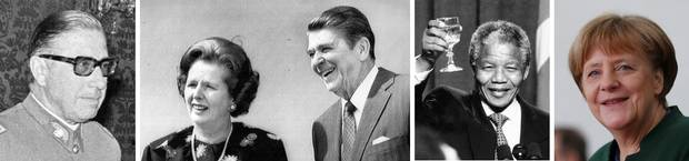 An odd group: Chilean dictator Augusto Pinochet, British prime minister Margaret Thatcher, U.S. president Ronald Reagan, South African president Nelson Mandela and German Chancellor Angela Merkel.