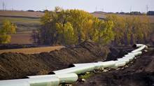 An oil pipeline under construction in North Dakota. (Reuters)