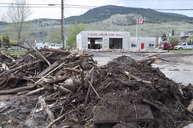Flood debris is seen on the road in Cache Creek, B.C., on May 6, 2017.